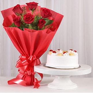 6 Kırmızı gül ve 4 kişilik yaş pasta  Çorum hediye çiçek yolla