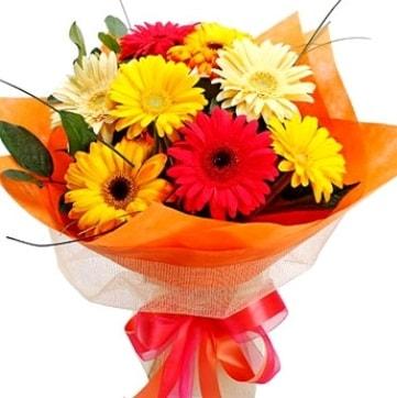 9 adet karışık gerbera buketi  Çorum hediye çiçek yolla