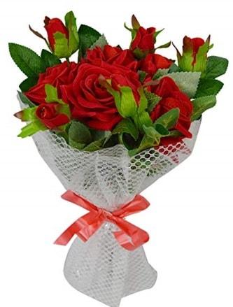 9 adet kırmızı gülden sade şık buket  Çorum çiçek , çiçekçi , çiçekçilik
