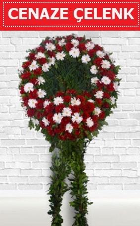 Kırmızı Beyaz Çelenk Cenaze çiçeği  Çorum çiçek yolla