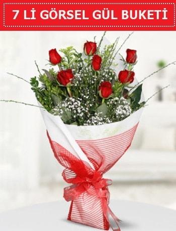 7 adet kırmızı gül buketi Aşk budur  Çorum ucuz çiçek gönder