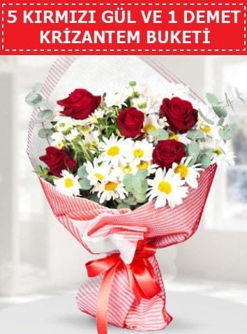 5 adet kırmızı gül ve krizantem buketi  Çorum ucuz çiçek gönder