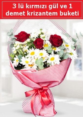 3 adet kırmızı gül ve krizantem buketi  Çorum çiçek gönderme