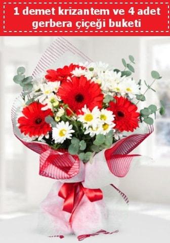Krizantem ve Gerbera Buketi  Çorum çiçekçiler