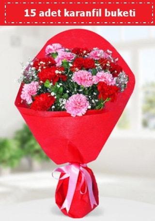 15 adet karanfilden hazırlanmış buket  Çorum 14 şubat sevgililer günü çiçek