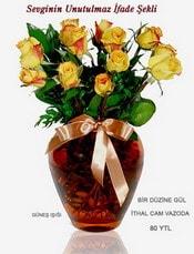 Çorum internetten çiçek siparişi  mika yada Cam vazoda 12 adet sari gül